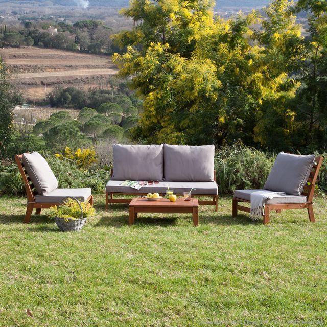 Salon de jardin en bois de couleur - Abri de jardin et balancoire idée