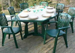 Table salon de jardin plastique vert - Abri de jardin et ...