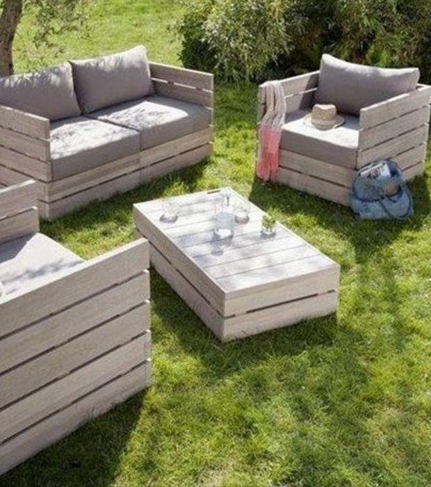 Idee salon de jardin en palette - Abri de jardin et balancoire idée