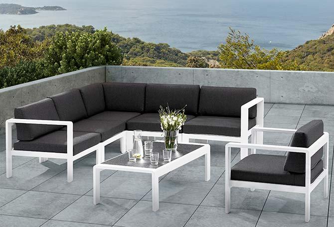 Salon de jardin gris design - Abri de jardin et balancoire idée