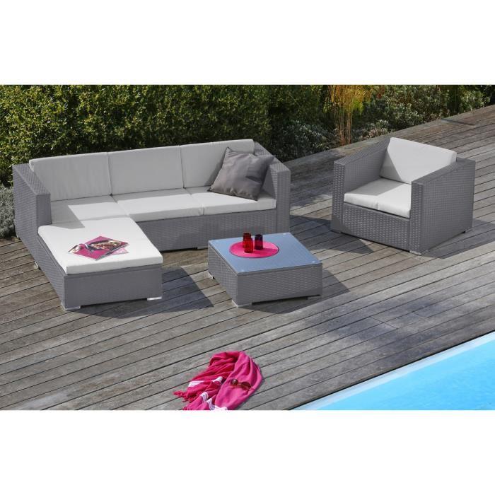 Salon de jardin miami 6 gris - Abri de jardin et balancoire idée