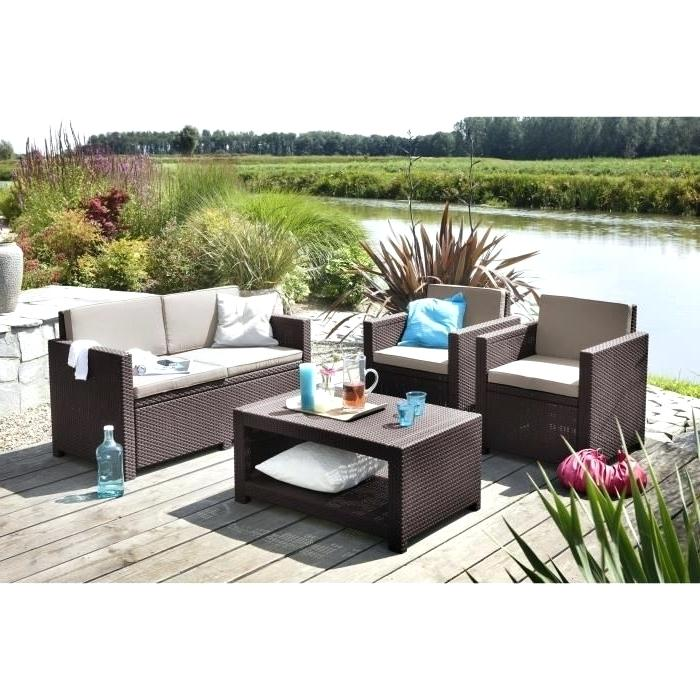 denver salon de jardin gris effet rotin tress 4 places. Black Bedroom Furniture Sets. Home Design Ideas
