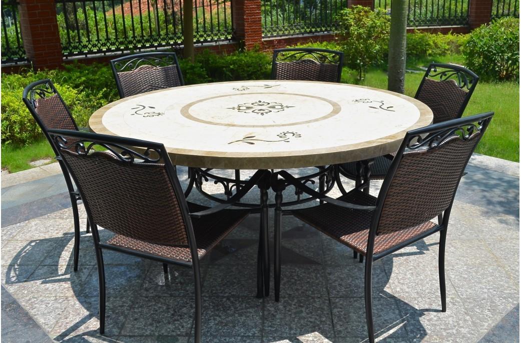 Table de salon de jardin en pierre - Abri de jardin et ...