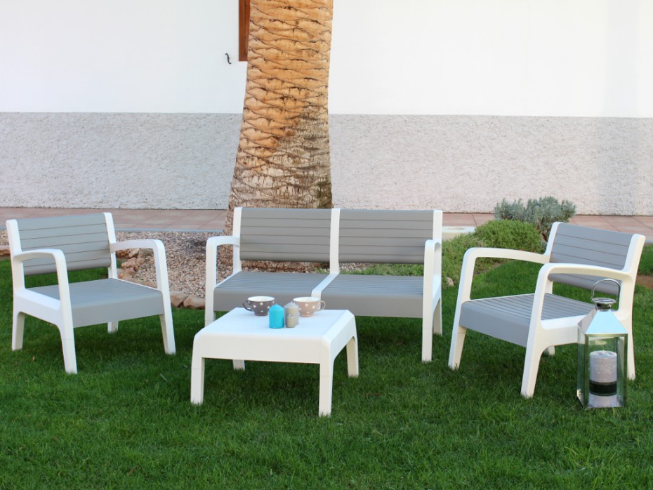 Salon de jardin gris plastique - Abri de jardin et ...