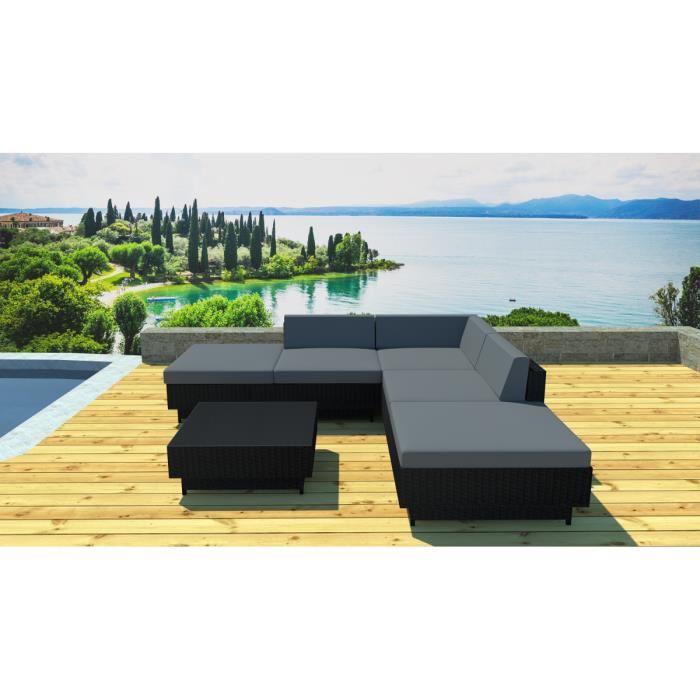 Salon de jardin gris et noir - Abri de jardin et balancoire idée