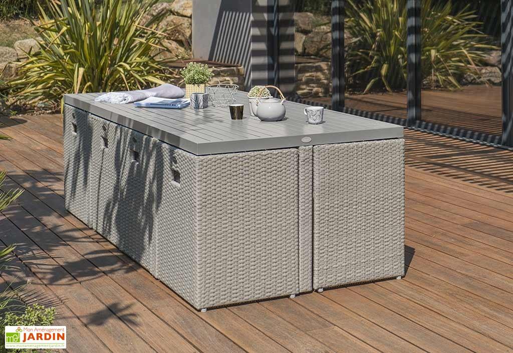 Salon de jardin table + 8 fauteuils en resine tressee - Abri de ...