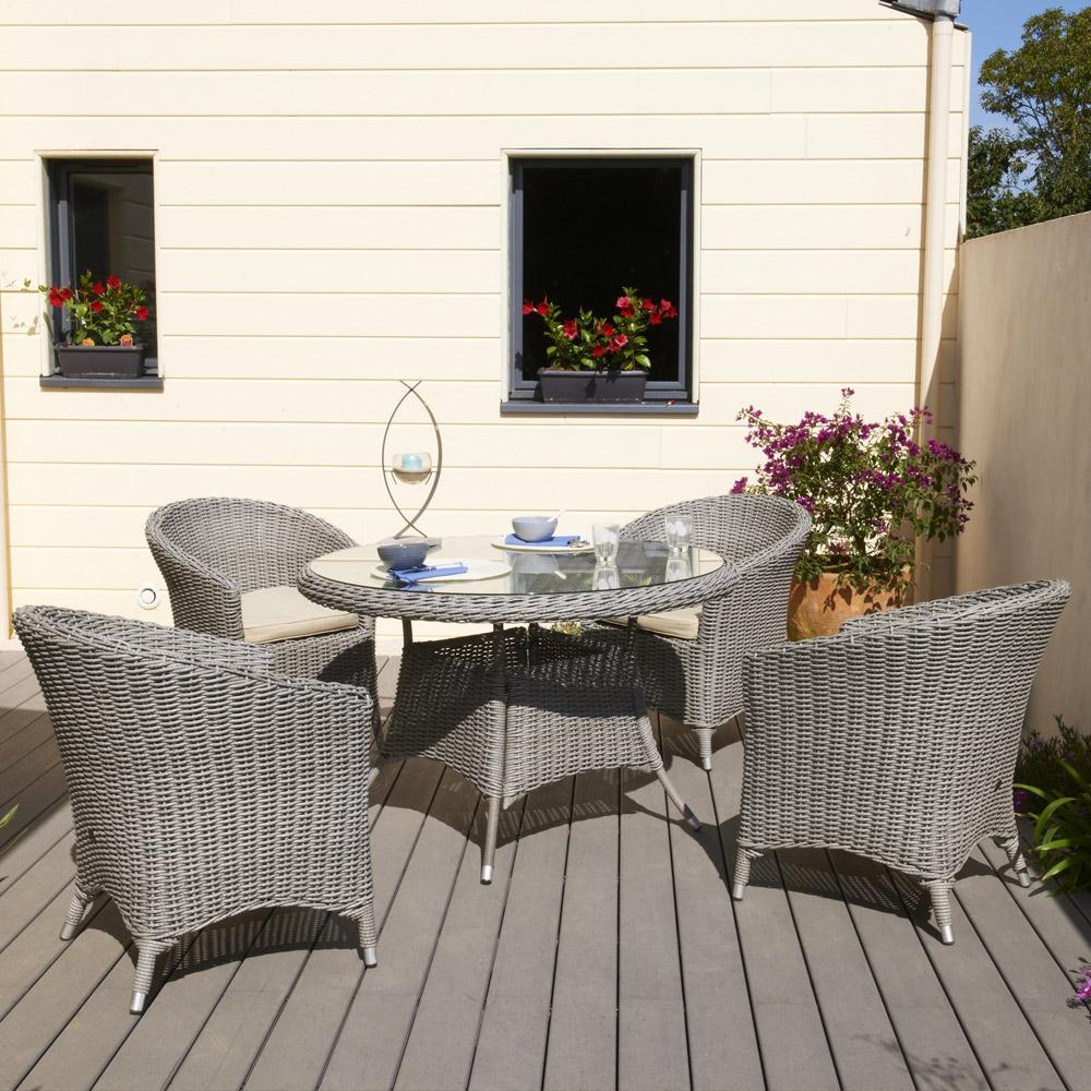 Table ronde de salon de jardin en plastique - Abri de jardin et ...