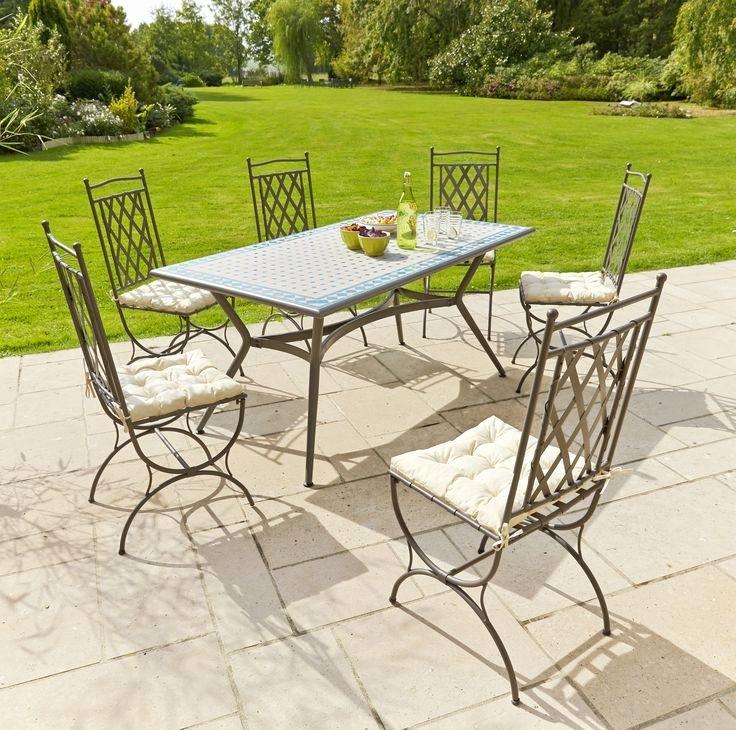 Salon de jardin fer forgé table mosaique - Abri de jardin et ...